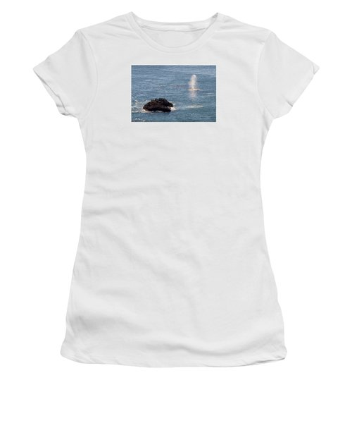 Women's T-Shirt (Athletic Fit) featuring the photograph Whale Watching Yaquina Head Oregonn by Rospotte Photography