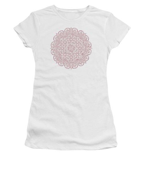 Whimsical Burgundy Mandala Women's T-Shirt