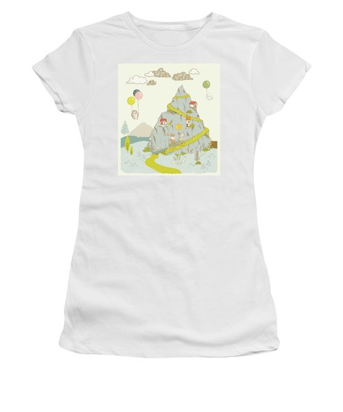 Women's T-Shirt featuring the painting Whimsical Mountain And Animal Art For Kids by Matthias Hauser