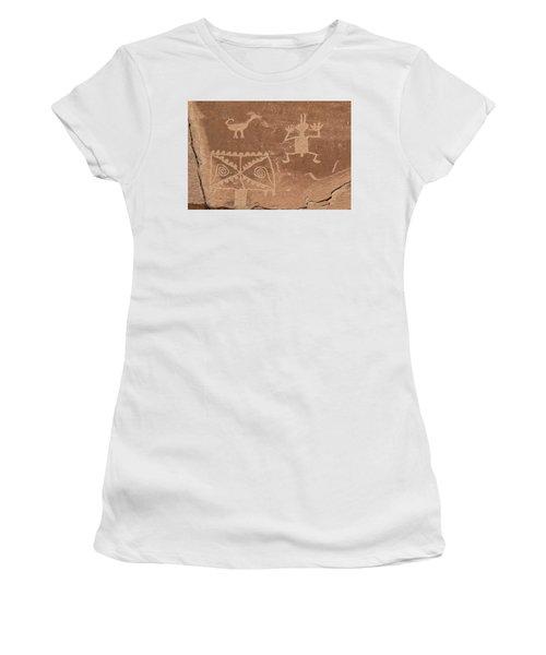 Whimsical Petroglyph Panel  Women's T-Shirt
