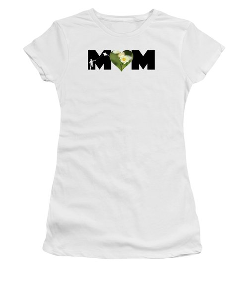 White Cosmos In Heart With Little Boy Mom Big Letter Women's T-Shirt