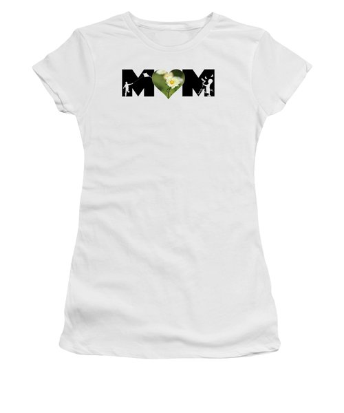White Cosmos In Heart With Little Girl And Boy Mom Big Letter Women's T-Shirt