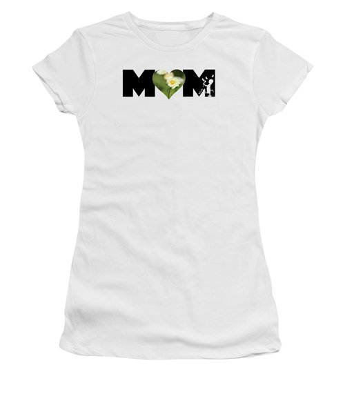 White Cosmos In Heart With Little Girl Mom Big Letter Women's T-Shirt