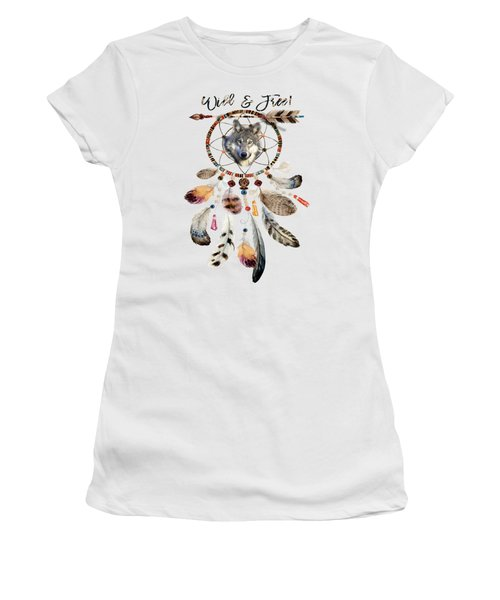 Women's T-Shirt (Athletic Fit) featuring the mixed media Wild And Free Wolf Spirit Dreamcatcher by Georgeta Blanaru
