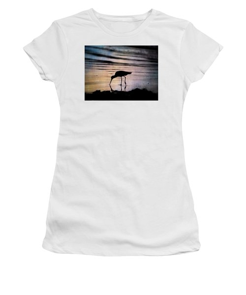 Women's T-Shirt (Athletic Fit) featuring the photograph Willet At Sunset by John Rodrigues