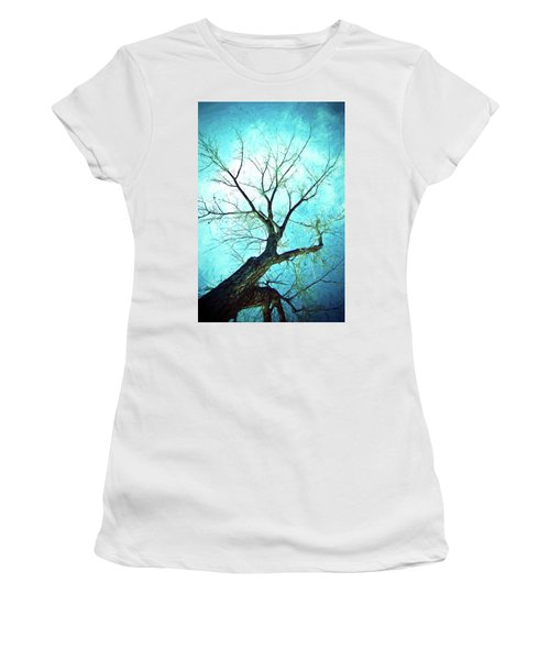 Women's T-Shirt (Athletic Fit) featuring the photograph Winter Tree Blue  by James BO Insogna