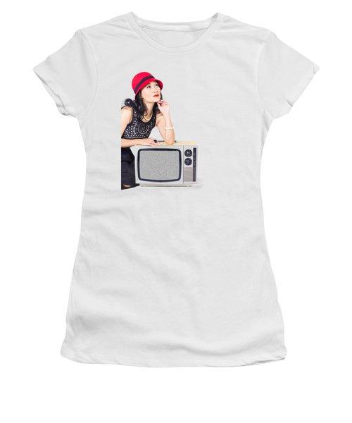 Woman On Retro Tv. Fifties Copyspace Broadcast Women's T-Shirt