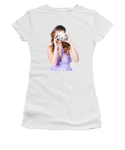 Woman With Camera On White Background Women's T-Shirt