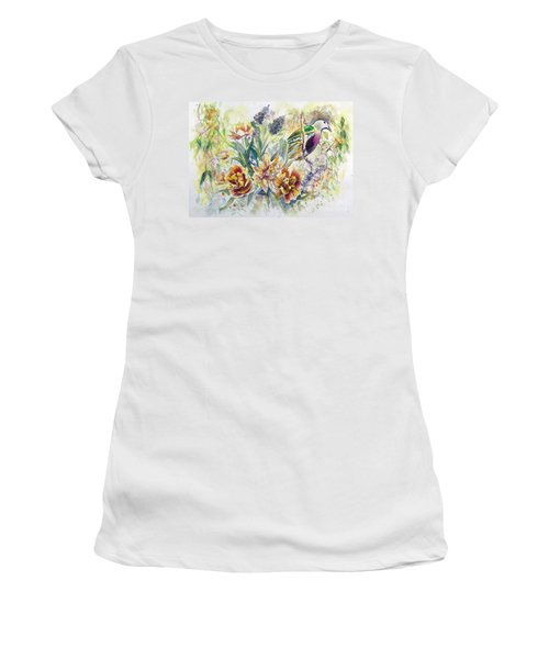 Women's T-Shirt featuring the painting Wompoo Fruit Dove by Ryn Shell