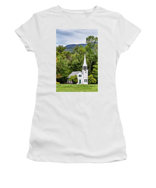Women's T-Shirt (Athletic Fit) featuring the photograph Wonalancet Union Chapel by Betty Pauwels