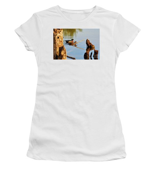 Women's T-Shirt featuring the photograph Wood Ducks by Debbie Stahre