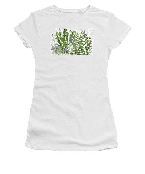 Woodland Ferns Violets Nature Illustration Women's T-Shirt