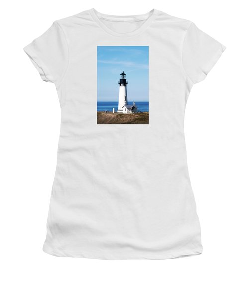 Women's T-Shirt (Athletic Fit) featuring the photograph Yaquina Head Lighthouse 101618 by Rospotte Photography