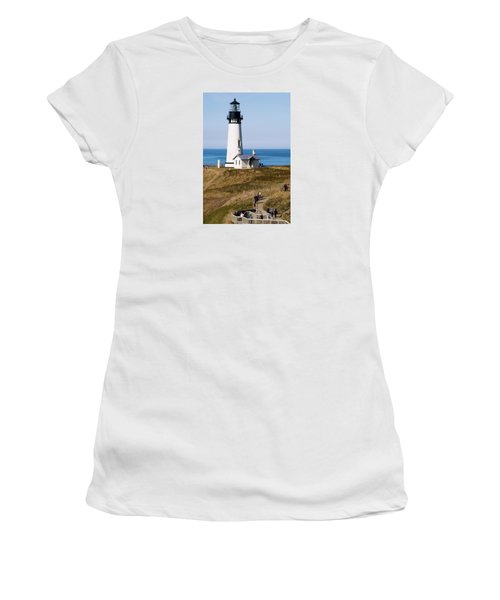 Women's T-Shirt (Athletic Fit) featuring the photograph Yaquina Head Lighthouse 102518 by Rospotte Photography