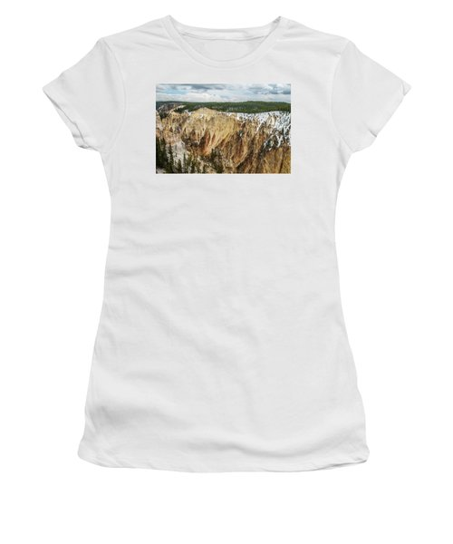 Women's T-Shirt featuring the photograph Yellowstone Canyon With Frosting by Matthew Irvin