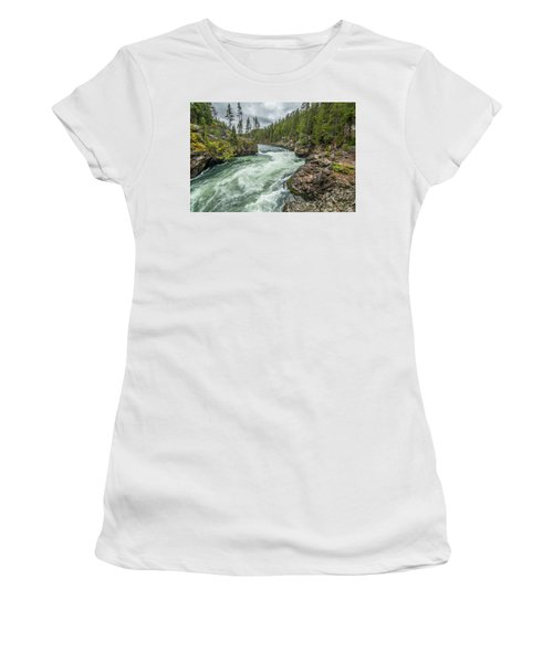 Women's T-Shirt featuring the photograph Yellowstone River Falling by Matthew Irvin