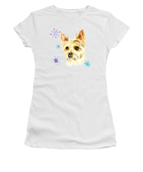 Yorkie Dog And Snowflakes Women's T-Shirt