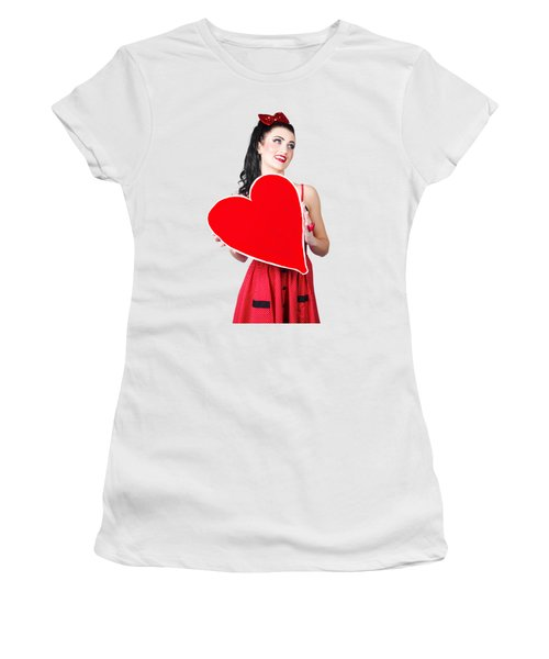 Young Lady Holding Retro Red Heart Card Women's T-Shirt