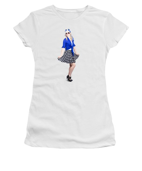 Young Stylish Pinup Woman Posing For Photo Women's T-Shirt