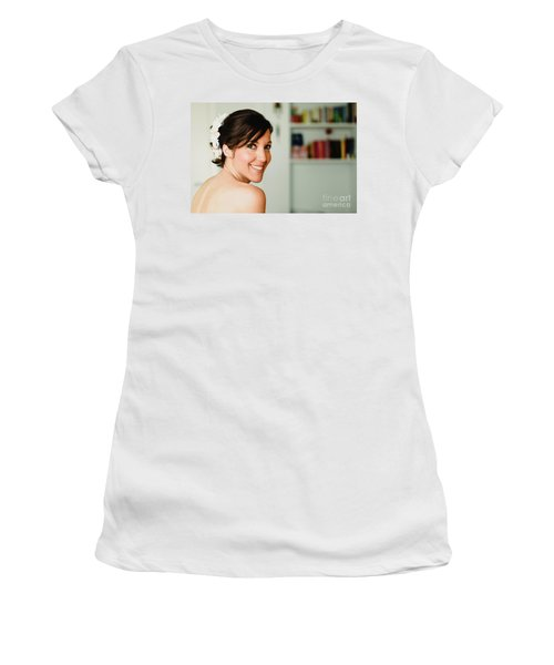 Young Woman From Behind Smiling Women's T-Shirt