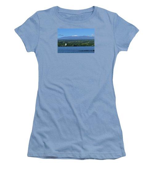 Women's T-Shirt (Junior Cut) featuring the photograph  Hawaii's Snow Above Hilo Bay Hawaii by Lehua Pekelo-Stearns
