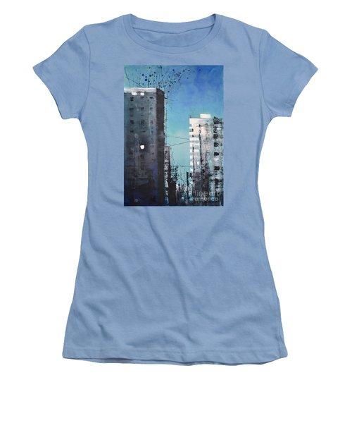 Women's T-Shirt (Junior Cut) featuring the painting  Rotterdam by Maja Sokolowska