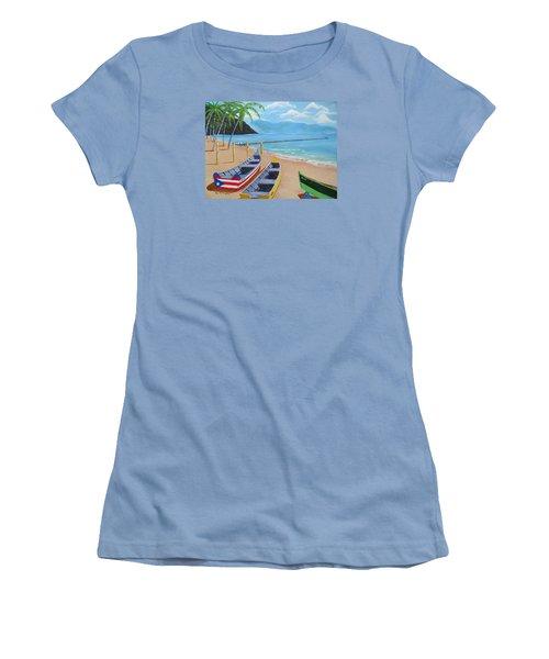 Aguadilla Crashboat Beach Women's T-Shirt (Junior Cut) by Luis F Rodriguez