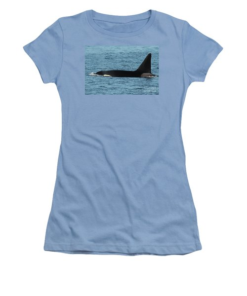 Women's T-Shirt (Junior Cut) featuring the photograph Male Orca Killer Whale In Monterey Bay California 2013 by California Views Mr Pat Hathaway Archives