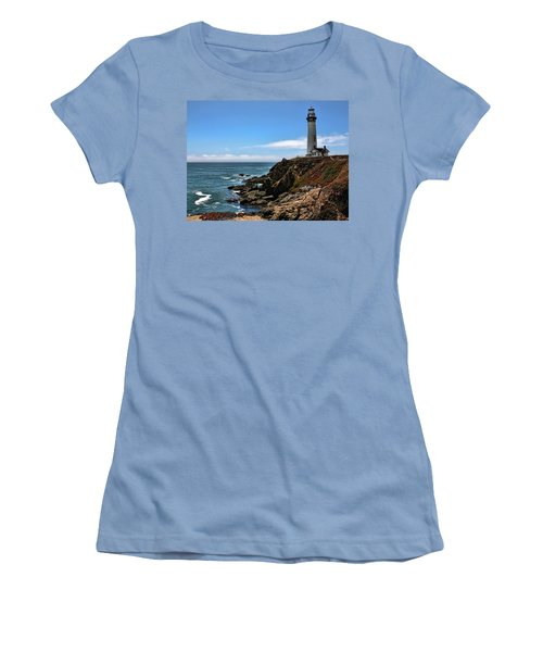 Pigeon Point Lighthouse Women's T-Shirt (Junior Cut) by Judy Vincent
