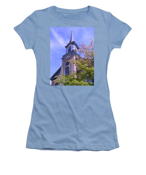 Women's T-Shirt (Junior Cut) featuring the photograph Steeple Church Arch Windows 1 by Becky Lupe