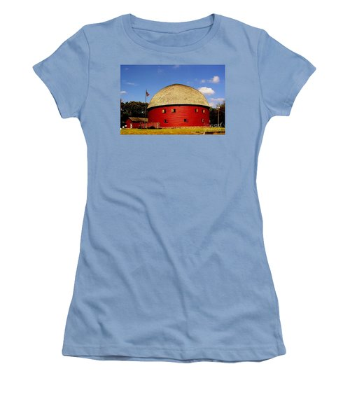 Women's T-Shirt (Junior Cut) featuring the photograph 100 Year Old Round Red Barn  by Janette Boyd