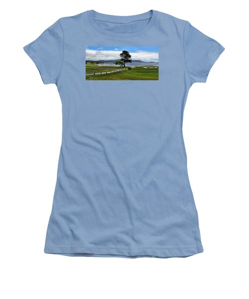 18th At Pebble Beach Panorama Women's T-Shirt (Junior Cut) by Judy Vincent