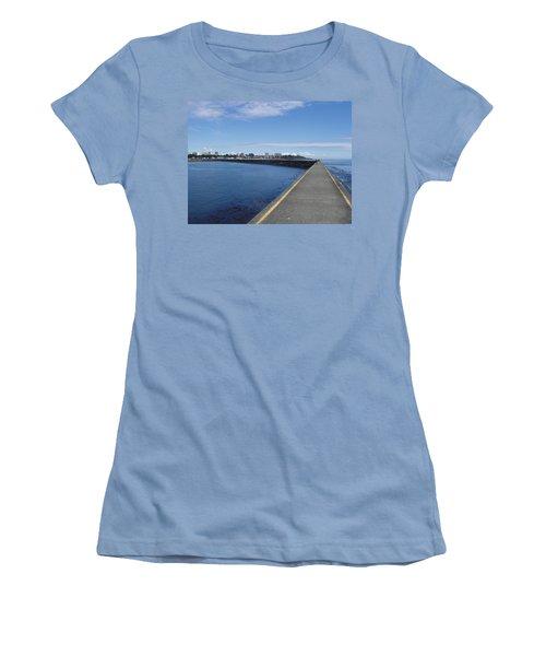 Women's T-Shirt (Junior Cut) featuring the photograph Along The Breakwater by Marilyn Wilson