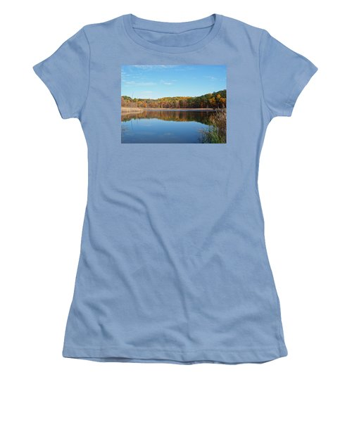 Women's T-Shirt (Junior Cut) featuring the photograph Autumn Pond by Aimee L Maher Photography and Art Visit ALMGallerydotcom