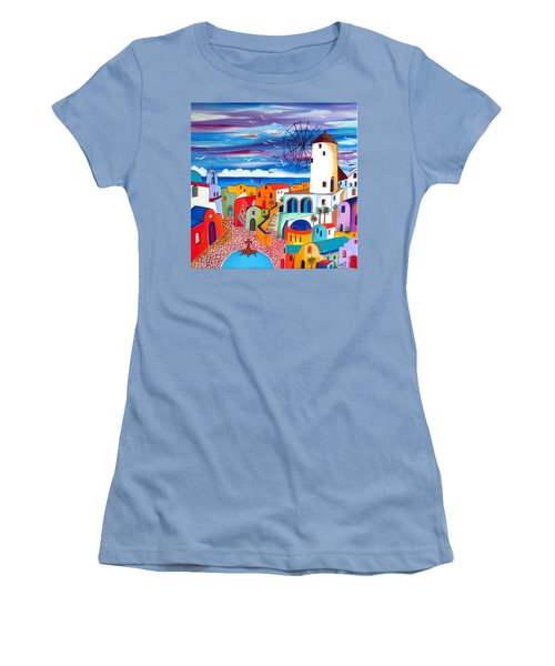 A Greek Mill And The Colors Of Oia Santorini  Women's T-Shirt (Athletic Fit)