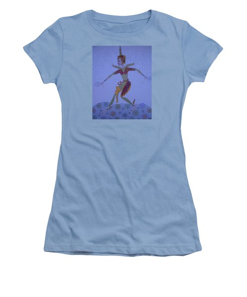 Women's T-Shirt (Junior Cut) featuring the painting A Wild Dance Of A Nymph by Marie Schwarzer