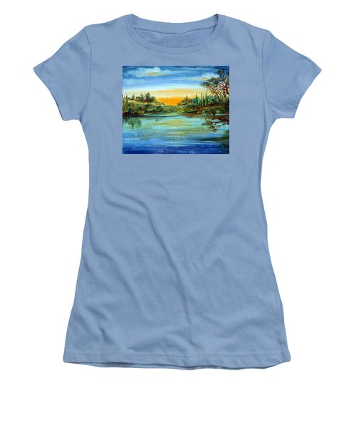 Women's T-Shirt (Junior Cut) featuring the painting Alba Sul Lago by Roberto Gagliardi