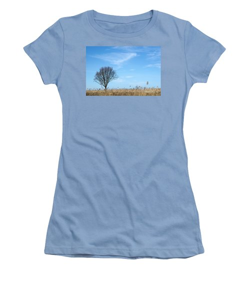 Alone Tree In The Reeds Women's T-Shirt (Athletic Fit)