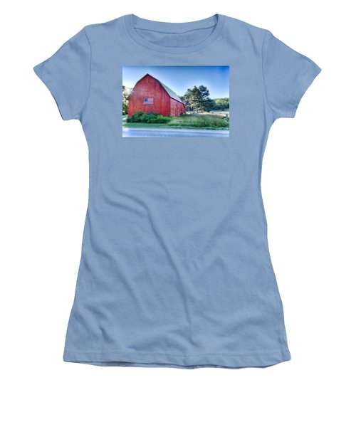 Women's T-Shirt (Junior Cut) featuring the photograph American Barn by Sebastian Musial