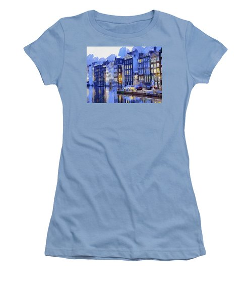 Women's T-Shirt (Junior Cut) featuring the painting Amsterdam With Blue Colors by Georgi Dimitrov