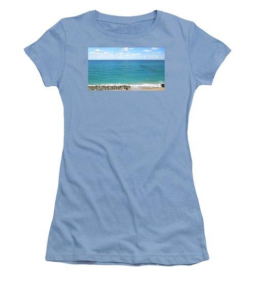 Atlantic Ocean In South Florida Women's T-Shirt (Junior Cut) by Ron Davidson