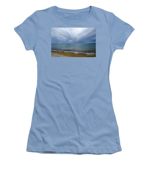 Women's T-Shirt (Junior Cut) featuring the photograph Bad Weather Approaching At The Coast by Kennerth and Birgitta Kullman