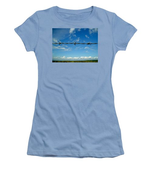 Women's T-Shirt (Junior Cut) featuring the photograph Barbed Sky by Nina Ficur Feenan