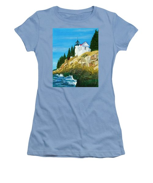 Bass Harbor Lighthouse Women's T-Shirt (Junior Cut) by Mike Robles