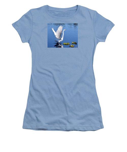 Beautiful Grest White Egret Women's T-Shirt (Athletic Fit)