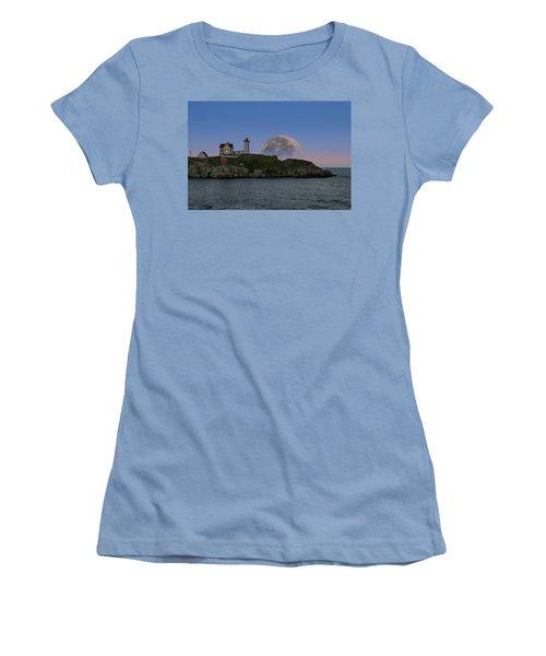 Big Moon Over Nubble Lighthouse Women's T-Shirt (Junior Cut) by Jeff Folger