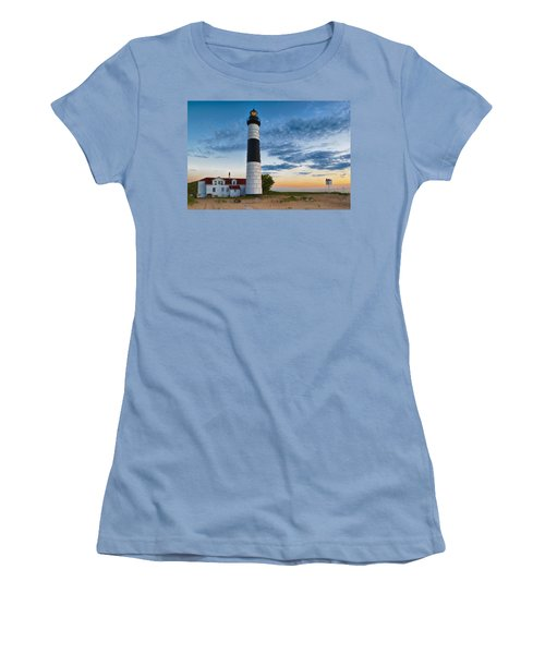 Women's T-Shirt (Athletic Fit) featuring the photograph Big Sable Point Lighthouse Sunset by Sebastian Musial