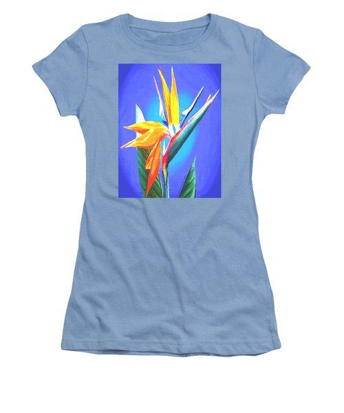 Bird Of Paradise Flower Women's T-Shirt (Junior Cut) by Sophia Schmierer