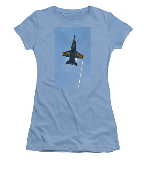 Women's T-Shirt (Junior Cut) featuring the photograph Blue Angels Ghost Appears Over Pensacola Beach by Jeff at JSJ Photography