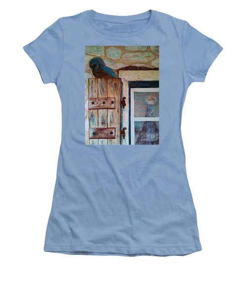 Women's T-Shirt (Junior Cut) featuring the painting Blue Bird by Jasna Gopic
